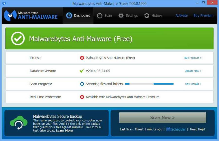 Screenshot de Malvarebytes Anti Malware