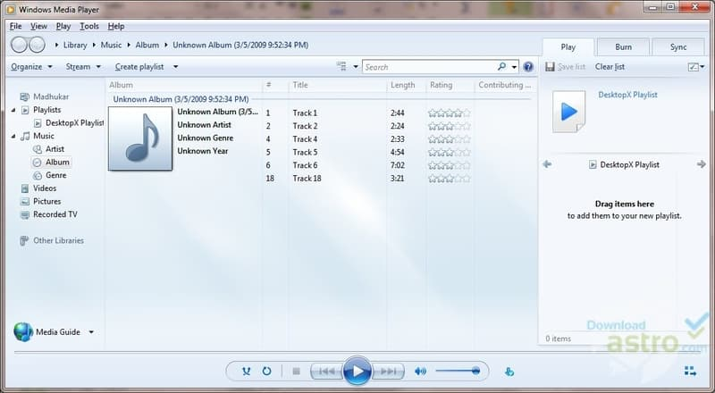 Screenshot de Windows Media Player