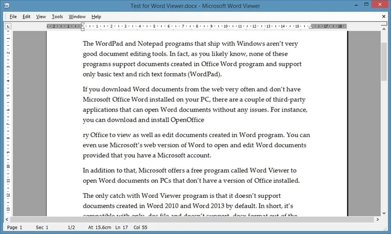 Screenshot de Word Viewer